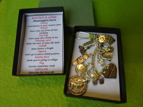 GOOD LUCK IN COLLEGE Meaningful Keepsake keyring Charm Gift Boxed Rhymes card