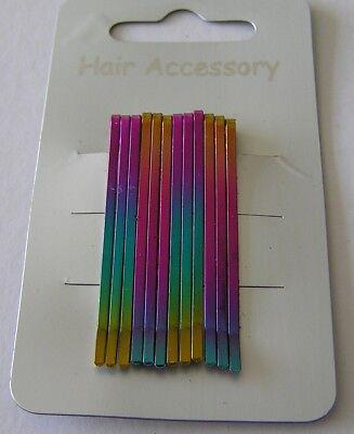 1 Scheda Nuova Del 12 Hair Grip Bambine Bambini Bambini Rosa Blu Giallo Multi 43mm Di Lunghezza-mostra Il Titolo Originale Prodotti Di Qualità In Base Alla Qualità