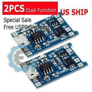 2pcs-TP4056-5V-1A-Micro-USB-18650-Lithium-Battery-Charging-and-Protection-Board