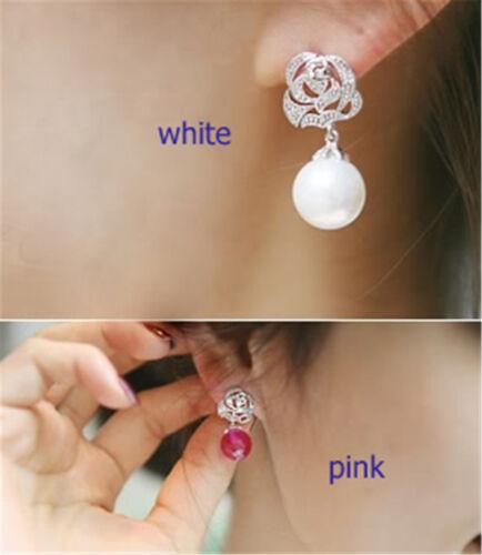 Super hübsche kristall rosen ohrringe stecker Silber und perle