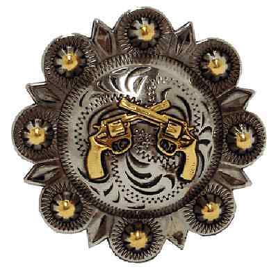 """Western Equestrian Cowboy Decor (6) Engraved Crossed Pistols Conchos 1-1/2"""""""