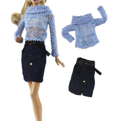 2Pc Doll blue shirt skirt set for 11'' doll 1/6 30cm doll party daily clothes tr