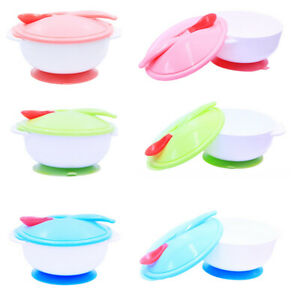 Baby Kid Sensing Temperature Spoon Sets Suction Cup Bowl Tableware Non-Slip NEW