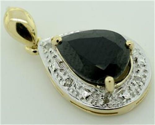 Natural 1.2ct Sapphire & 6 Diamond 9ct 375 Solid gold Pendant- 30 Day Returns