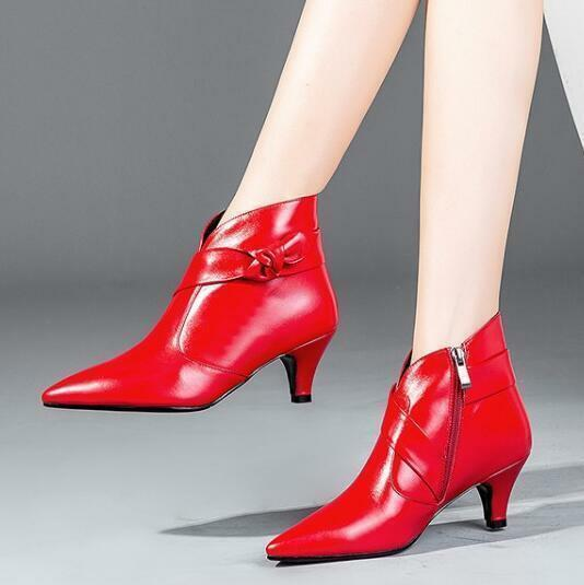 Hot Hot Hot Womens Ladies New Vogue Genuine Leather Pointy Toe Zip Ankle Boots shoes @B0 c31f7f