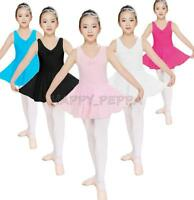 NWT Girls 2-14Years Ballet Dance Gymnastics Sleeveless Dress Leotard with skirt