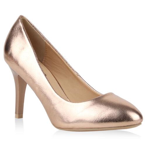 Klassische Damen Abiball Lack Pumps Elegant Abendschuhe Metallic 78799 Schuhe