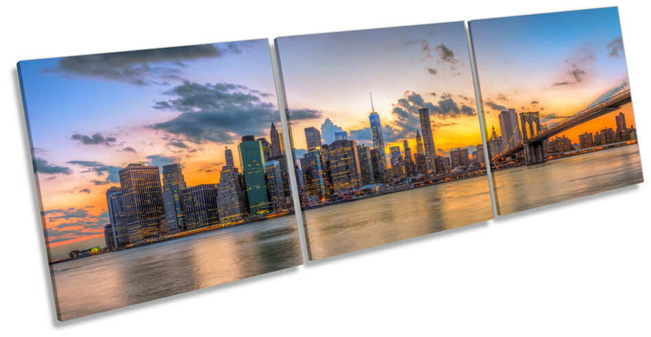 New York Brooklyn Bridge Sunset TREBLE CANVAS Wand Kunst Box Frame Bild