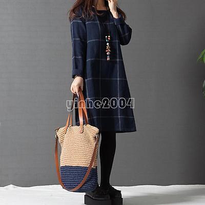 Women Maxi Plus Size Cotton Long Sleeve Evening Party Casual Dress M-4XL Winter