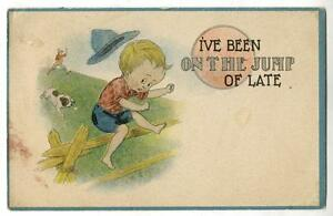 Image Is Loading Vintage Samson Bros Comic Artis Postcard Boy Jumping