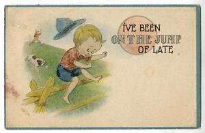 Image Is Loading Vintage Samson Bros Comic Artis Postcard Boy Jumping