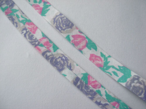 CLEARANCE 5M OF 13MM WIDE FLORAL MULTICOLOURED BIAS BINDING #02