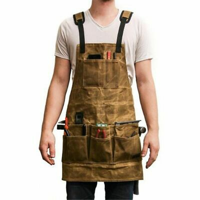 Heavy Duty Waxed Canvas Apron Back Straps Adjustable /& Durable Working Protection Apron with Pockets 20oz