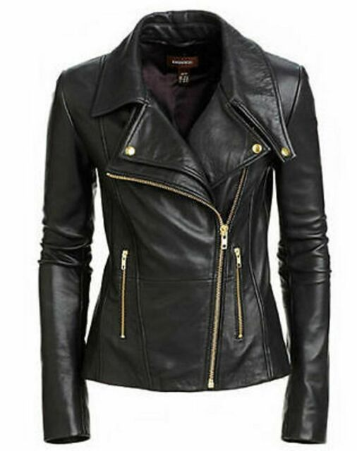 926e3dfd4 WOMEN LADIES REAL LEATHER BIKER JACKET NEW SLIM FIT SOFT SHEEP LEATHER  JACKET