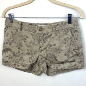Aritzia-Talula-Women-039-s-Size-4-Shorts-Beige-Tan-With-Black-Floral-Print-Cotton