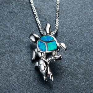 Women-Gift-925-Silver-Mom-amp-Baby-Turtle-Blue-Fire-Opal-Pendant-Necklace-Jewelry