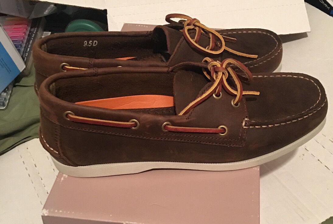 Joseph Abboud Mens 9.5 D Leather Topstitch Boat Laces MocToe 13344 Brown Slip-on