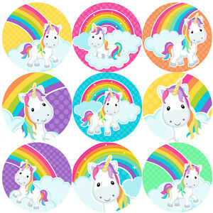 Image is loading 144-Rainbow-Unicorns-30-mm-Reward-Stickers-for-
