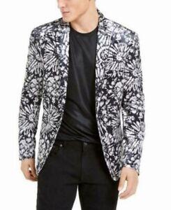 INC Mens Sport Coat Black Size Large L Slim-Fit Velvet Flower Burst $149 #405