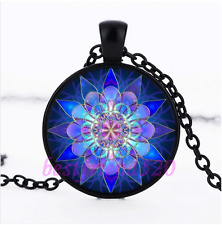 Blue Flower Mandala Glass Pendant Black Necklace for man woman Jewelry#E33