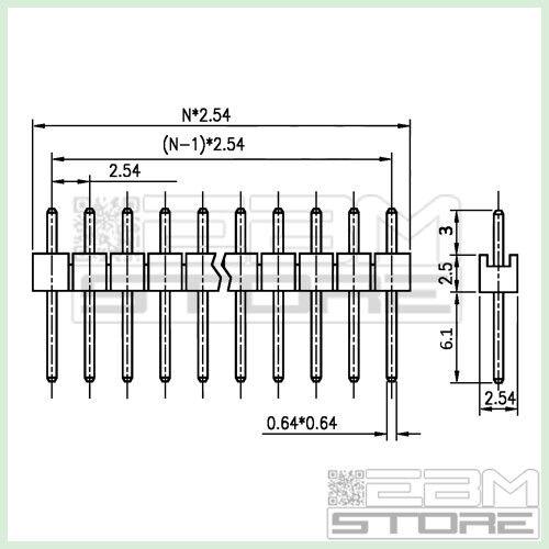 5 pz Connettori strip line 40 poli maschio L=6mm AU01 ART
