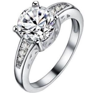 Platinum White Gold Plated White Topaz Ring Size: 7