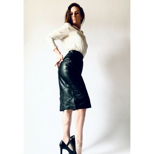 vintage 80s leather skirt  1980s a-line skirt