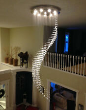 Height 245cm Staircase Wave Crystal Chandelier Pendant Lamp LED Ceiling Lighting