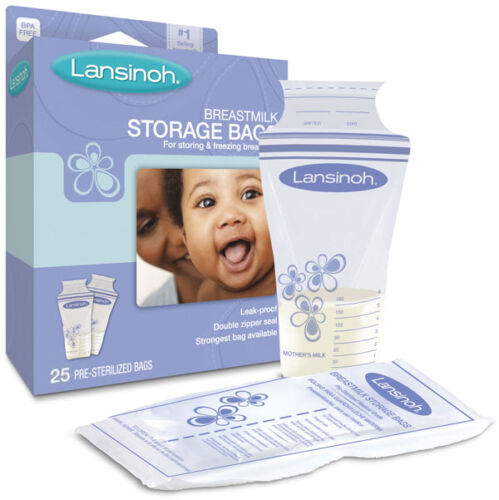 50 or 100 Pk Lansinoh BPA Free Breastmilk Pre-Sterilized Storage Freeze Bags 25