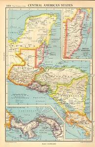 Details about Antique Map 1947 Bartholomew Central American States