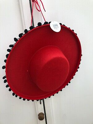 Red Flamenco Hat Felt Spain Mexico Spanish Mexican Latin Dancer Fancy Dress