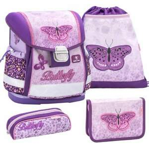 Belmil-Schulranzen-4erSet-Classy-Erstklaessler-Einschulung-Maedchen-Schmetterlinge