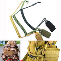 Tactical Spring String Buckle Key Chain Safety Cord Carabiner Hook Strap