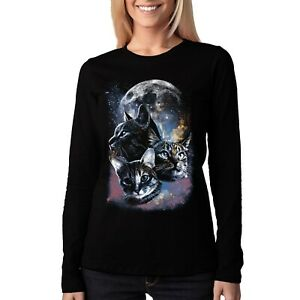Velocitee-Ladies-Long-Sleeve-T-Shirt-Psychedelic-Space-Cat-Kitty-Pussy-A21552