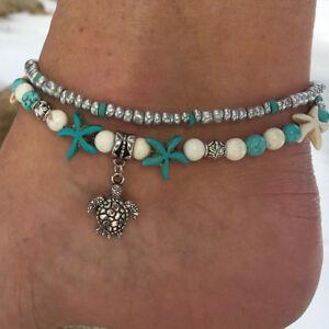 Vintage-Starfish-Turquoise-Beads-Sea-Turtle-Anklet-Beach-Sandal-Ankle-Bracelet