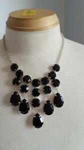 16-034-FAUX-CHUNKY-BLACK-ONYX-STONE-FACETED-DANGLE-CHOKER-NECKLACE-SILVERTONE-PRO