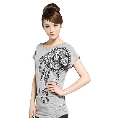 Women Round Neck Casual T-shirts Short Sleeve Cotton Blouse Tee Tops