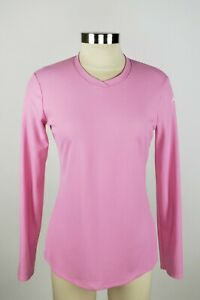 Asics-Women-039-s-Small-Pink-Long-Sleeve-V-Neck-Activewear-Athletic-Top-Shirt
