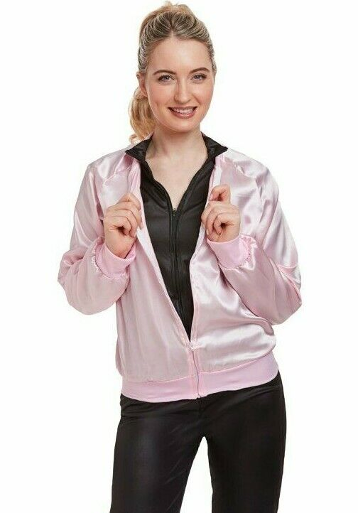 50s Pink Ladies Jacket 1950s Adult Girls Fancy Dress Costume Hen Party Outfit UK