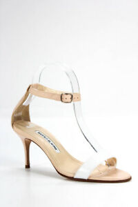 Manolo-Blahnik-Womens-Leather-Ankle-Strap-Sandals-Pink-White-Size-36-6