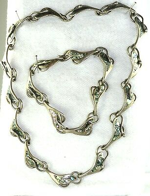 VTG MEXICAN TAXCO MEXICO STERLING SILVER 15.5 INCH CHOKER NECKLACE & BRACELET