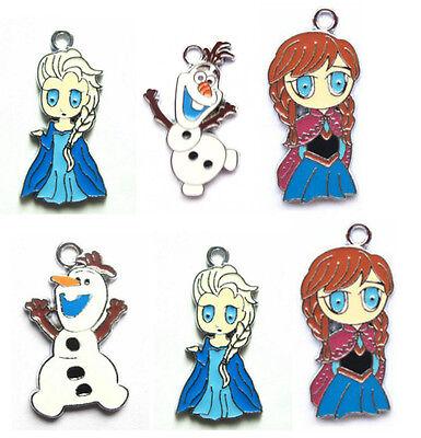 New Princess + Snowman Enamel Metal Charms Jewelry Making Pendants Earrings