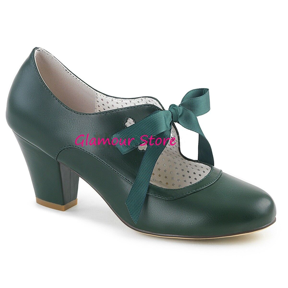 Sexy DECOLTE' tacco 6,5 6,5 6,5 dal 35 a 41 vert SCURO fiocchetto chaussures PIN UP glamour be7d21