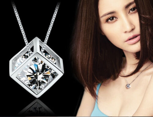 New Cute Women Girl Magic Cube BEADED Silver Crystal chain Necklace Pendant Gift