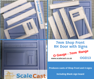 O Gauge Model Railway Shop Front And Signs Mould - O Scale - Ogd13 Rh Door