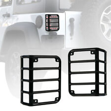 Pair Black Iron Steel Rear Tail Light Guards Covers For 07 18 Jeep Wrangler Jk Fits Jeep