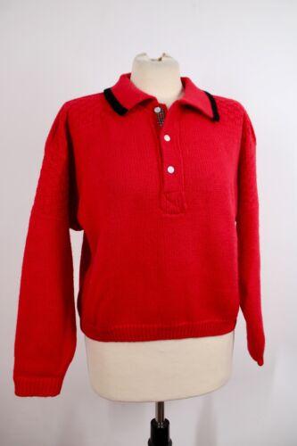 Vtg Esprit Sportiv M Highland Sport Red 100% Wool