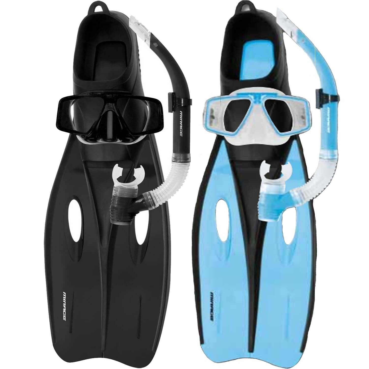 Mirage Challenger ADULT Silicone Snorkel Set Flipper Snorkel Mask - Sizes S - XL