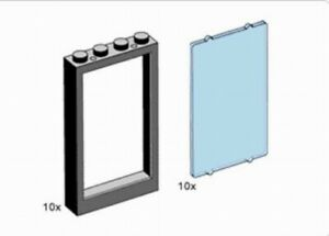 LEGO LOT Parts #2493 /& 2494-10 Black 1x4x5 Windows /& 10 Trans Clear Glass