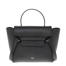 Celine Womens Nano Belt Bag Handbag in Grained Calfskin Black